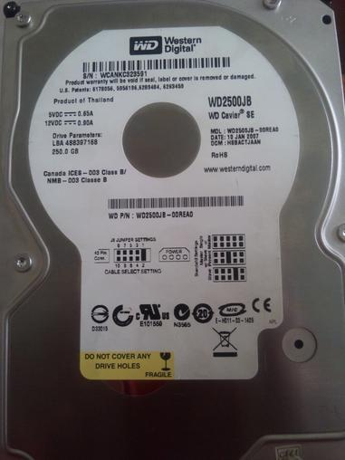 出售二手250g西数(希捷)串口硬盘